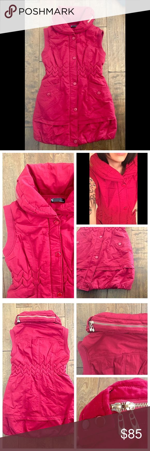 Red Jean Puffer Vest Jacket Long Jean Puffer Vest Jacket • Super Cute, thick, warm and unique design! • Red Jean exterior • Smooth interior • Full length zipper • Zipper cover with snap buttons • Scrunched waist • Flared / bubble bottom • 2 side pockets • Puffy collar with decorative button and zipper • Size Large (39 inch bust; 33 inches in length) • Preloved; excellent condition, no flaws Jackets & Coats Puffers