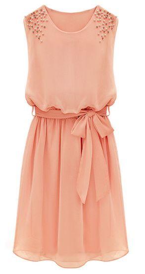 Pink Sleeveless Bead Belt Chiffon Sundress - Sheinside.com Mobile Site