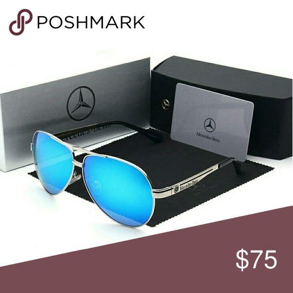 Mercedes Benz Mens Polarized Sunglasses Mercedes Benz Mens Polarized Sunglasses. Silver with Blue Mirror lenses. Includes hard case, original box and certificate of authenticity. Mercedes Benz Accessories Sunglasses