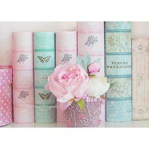 Потертый Chic Фотография, романтичный мечтательный розовый пион, пионы Аква Teal Цветочный декор, Baby Girl Детские Декор, Розовый Пионы Книги Home Decor