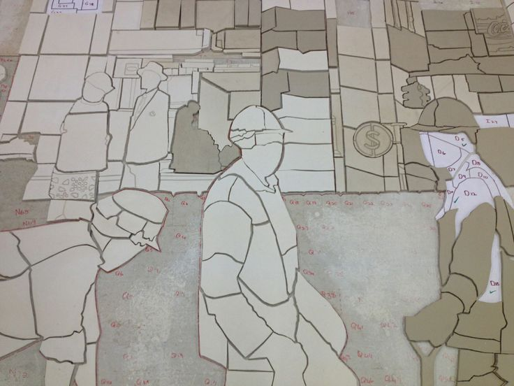 Production of 'Construction Workers' (2013) by Sam Nhlengethwa
