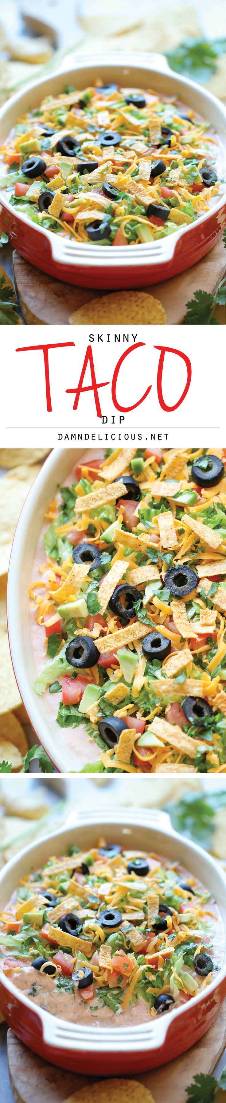 Skinny Taco Dip ~ Skip the guilt in this lightened up, super easy, 10-min taco dip. Perfect as a party appetizer for game day!