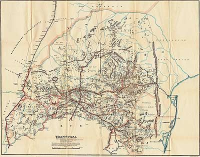 Boer War Maps - Map of the Boer Republic of Transvaal Showing Blockhouse Lines and South African Constabulary Posts with Dates of Completion...