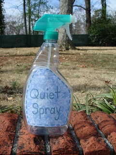 Quiet spray has nothing in the bottle but air. If only I'd had this when my boys were young enough to believe it.