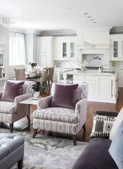 furniture layout and decorating ideas for a great room or open layout living room and dining room.  Grays, taupes, greige and white kitchen with marble