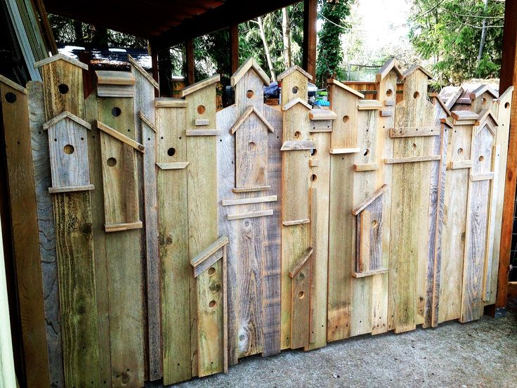 I just LOVE this Birdhouse Gate that I built for my back yard. I was inspired by other Birdhouse fences like this on Pinterest and had to build one for myself. It opens in the center and you can't even tell where.  Super fun! https://www.facebook.com/Carlasgardenanddecorglance