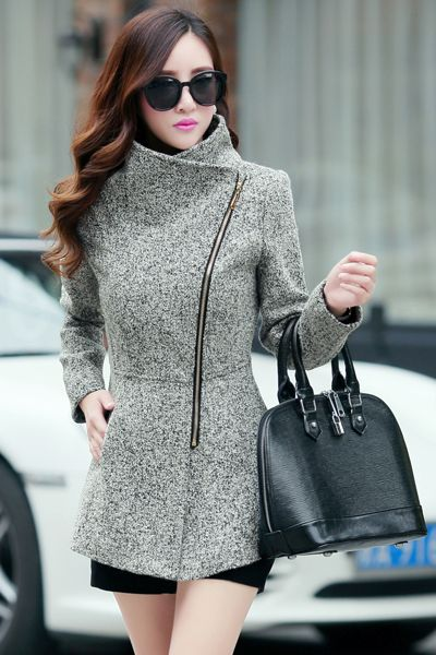 Love this Light Grey Woolen Winter Coat with the asymmetrical cut and diamond point toward the center