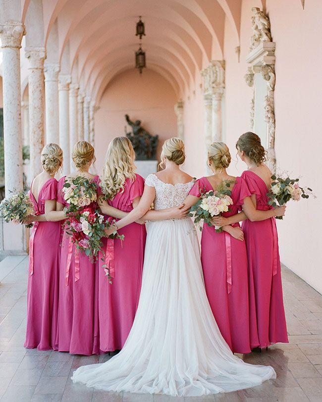 Bright Fuchsia Wedding At Ringling Museum Inspired By This Fuchsia Wedding Wedding Fuchsia Bridesmaid Dresses