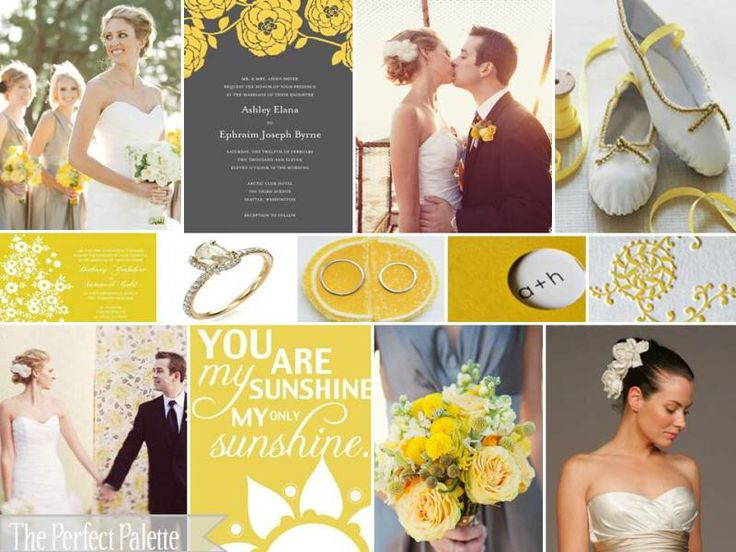 palette of yellow and grey: Shades, Ideas, Colors Combos, Gray Wedding, Grey Wedding, Inspiration Boards, Colors Schemes, Wedding Colors Palettes, Gray Yellow