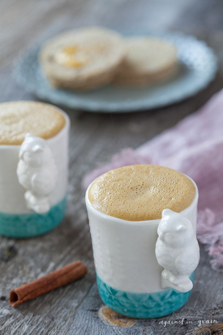 Pumpkin Spice Latte by Danielle Walker's Against all Grain Ingredients: 2 cups dark brewed coffee or espresso or tea 3/4 cup almond milk 3/4 cup coconut milk 1/3 cup Grade B maple syrup 3 tablespoons pumpkin puree 1 teaspoon pumpkin pie spice 1/2 teaspoon vanilla extract