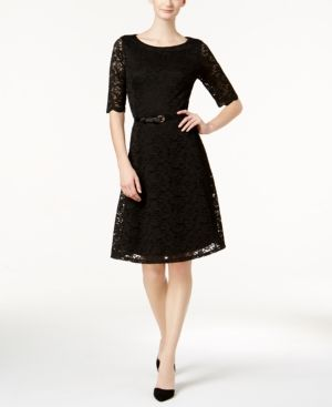 Charter Club Petite Belted Lace Dress, Created for Macy's - Black P/XL