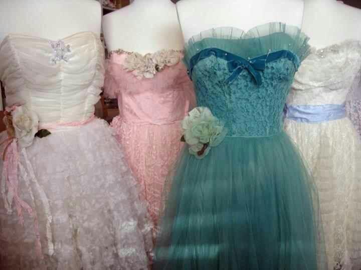 Blue Tulle Vintage Prom Dresses