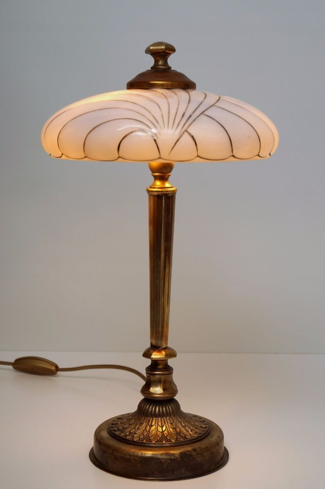 Magnificent Original Art Deco Table Lamp Brass Lamp 1940 Golden Stripes Fischerstilleuchten Art Deco Table Lamps Art Deco Lamps Deco Floor Lamp