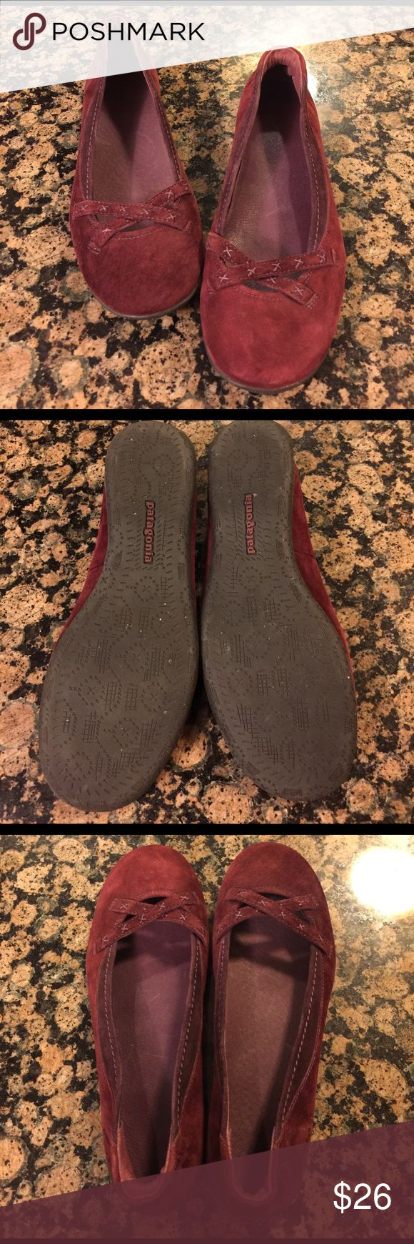 Patagonia flats These are gorgeous deep red plum colored flats by Patagonia. Pretty stitched detail. Quite comfortable. Only worn a few times. Size 7 but run a bit small IMO. EUC! Patagonia Shoes Flats & Loafers
