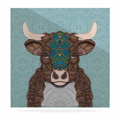 "East Urban Home 'Bennie - The Bull' Graphic Art Print on Metal Size: 10"" H x 10"" W x 1"" D"