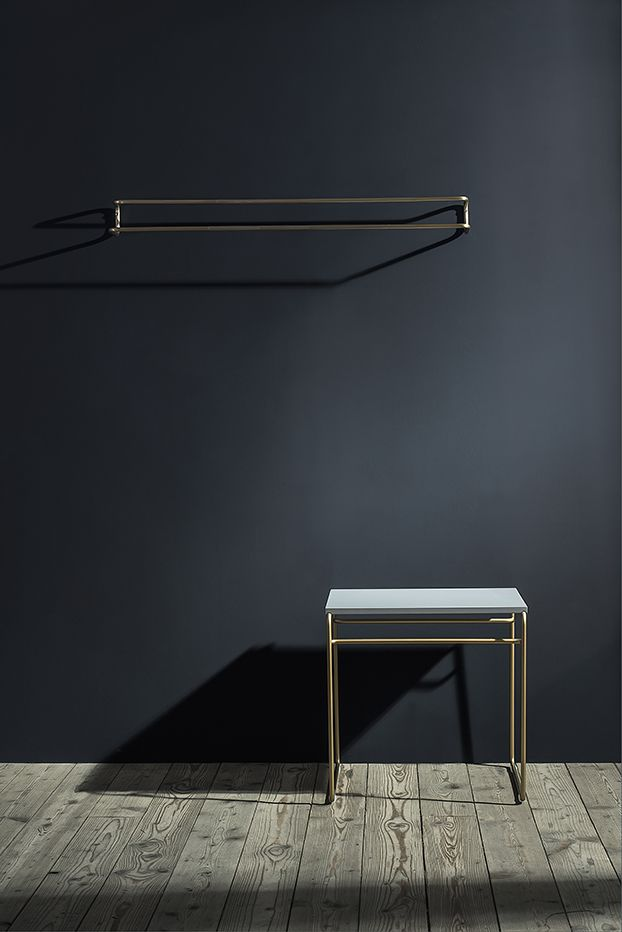 TILDA HANGER - nina mair | architecture | design | austria | steel profile | round brass | single continous line | powder coated steel | brass | stainless steel | dimensions small: WxLxH = 10x55x16 cm, 1,5 kg | dimensions large: WxLxH = 10x95x16 cm, 2,5 kg
