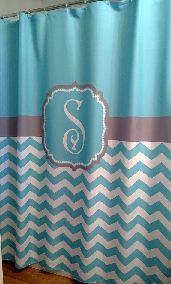 Shower Curtain Chevron YOU CHOOSE COLORS 72, 78, 84, 90 or 96 inch Standard or Extra Long Custom Monogram Personalized for Your Bathroom on Etsy, $74.00