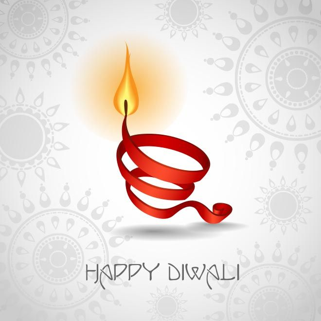 Vector Happy Happy Diwali Ribbon glowing Symbol with beautiful typography logo on Hindu religion Traditional pattern design in gray backgrou...
