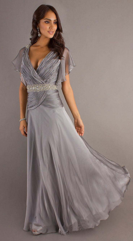 53 best dresses wedding sponsor images on pinterest mob modest long silver formal gown v neckline short sleeve chiffon silver prom dressescute bridesmaid ombrellifo Images