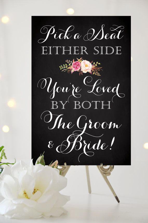 Wedding Seating Sign - Pick a Seat Either Side - Various Sizes - Printable Welcome sign in vintage chalkboard - PDF and JPG files  Micoleys picks for #OutdoorLiving www.Micoley.com