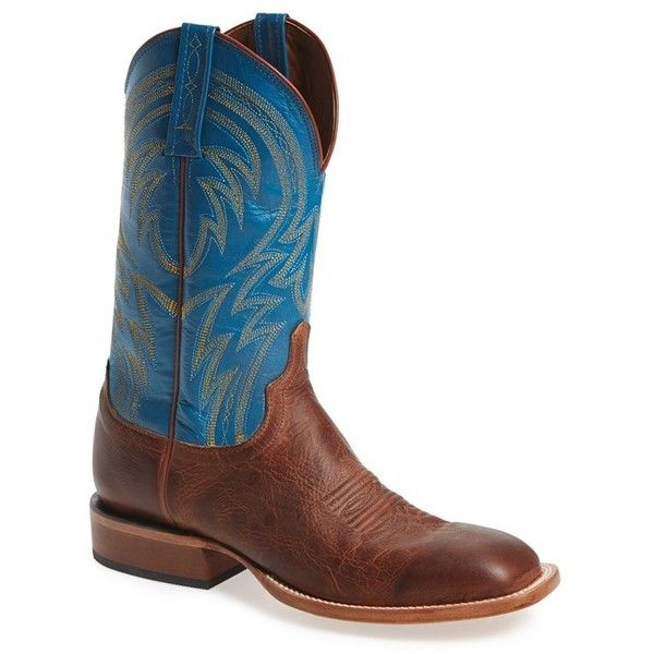 Men's Lucchese 'Alan' Western Boot ($329) ❤ liked on Polyvore featuring men's fashion, men's shoes, men's boots, mens boots, mens distressed leather shoes, mens western cowboy boots, lucchese men's boots and mens western boots
