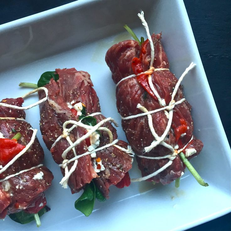 Roasted Red Pepper + Goat Cheese Skirt Steak Roll Ups | The Defined Dish