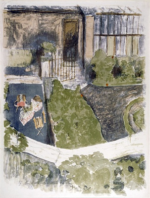 Édouard Vuillard (1868-1940)  Le Jardin devant l'atelier, 1901  Lithograph printed in color on china paper  25 3/4 x 18 7/8 inches