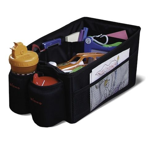 Diono Travel Pal  Keeps books, toys, bottles and bits and pieces all neat and tidy in the car. It also protects your car's upholstery against dirt, crumbs and spills. Fits between two car seats. It has insulated drink holders and the entire cargo area is water-proof – just in case !