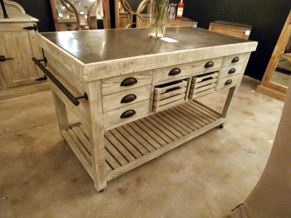 Rustic Kitchen Island With Stone Top On Wheels  Rustic