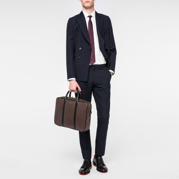Porte-Documents Homme 'City Embossed' En Cuir Marron