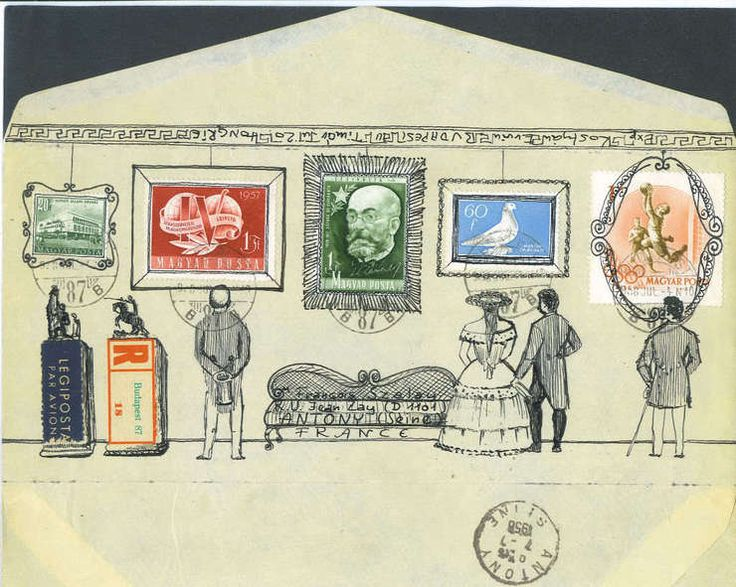 François Colos, mail art. An envelope collage.
