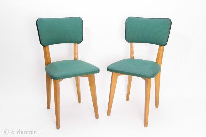 Paire de chaises vertes grain 233 es des ann 233 es 1950