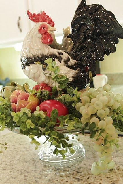 ZsaZsa Bellagio: Sweet Home Style Rooster atop veggies and fruits #flowers #floral #nonfloral