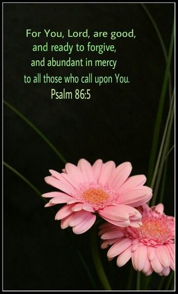 Psalm 86:5 KJV. For thou, Lord, art good, and ready to forgive; and plenteous in mercy unto all them that call upon thee.