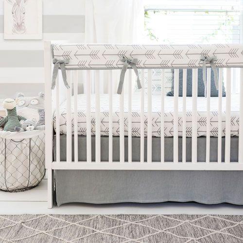 Gray Arrow Crib Rail Guard Bedding Set | Be Brave in Gray Crib Collection