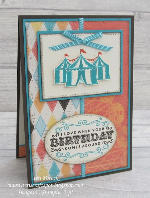 I like the edges and the ribbon down the middle matching the colors.   Carousel Birthday - Final Class Card