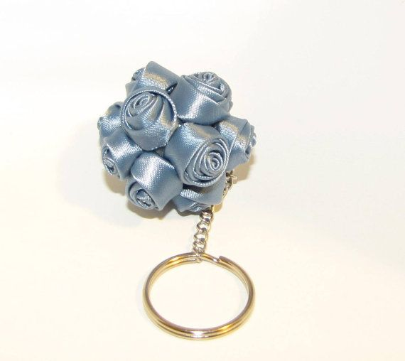 Lignt Blue Ball Bouquet of Roses Keychain