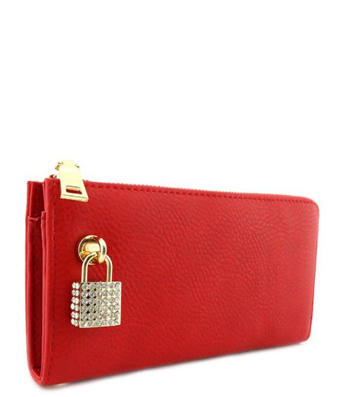 Rhinestone Lock Purse Wallet Red - Abfabulous Fashion