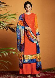 Cotton Satin Embroidered Palazzo Suit