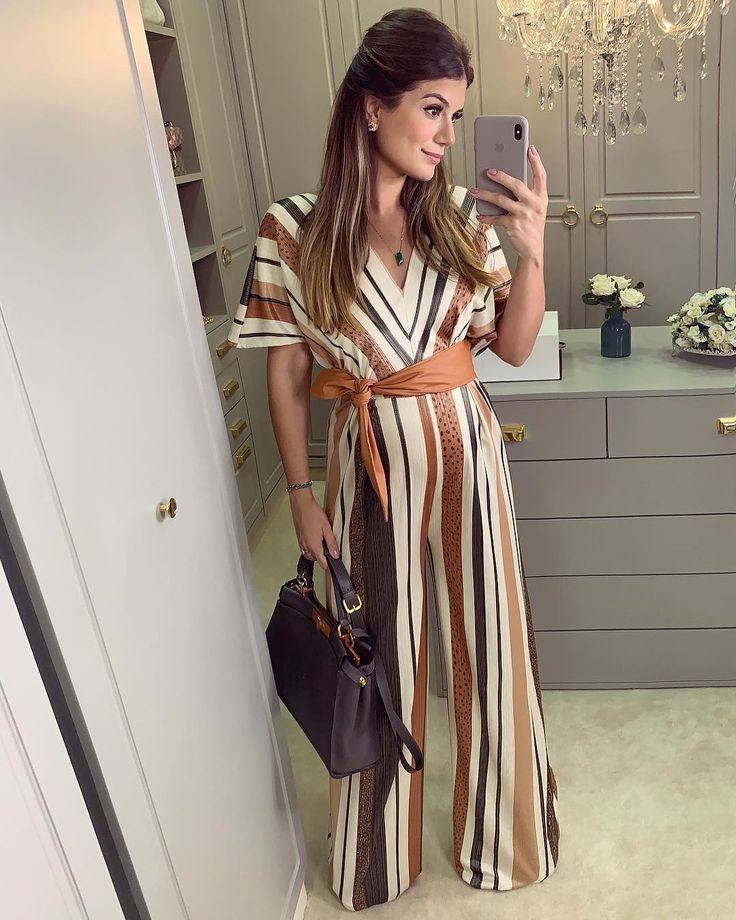 Macacão listrado pantalona by @sophieandcooficial ♥️ Super chique, elegante e pratico! • #ootn #selfie #lookdanoite #blogtrendalert | Canovas, Ariane de 2019 | Macacão, Roupas femininas e Roupas para gravidas