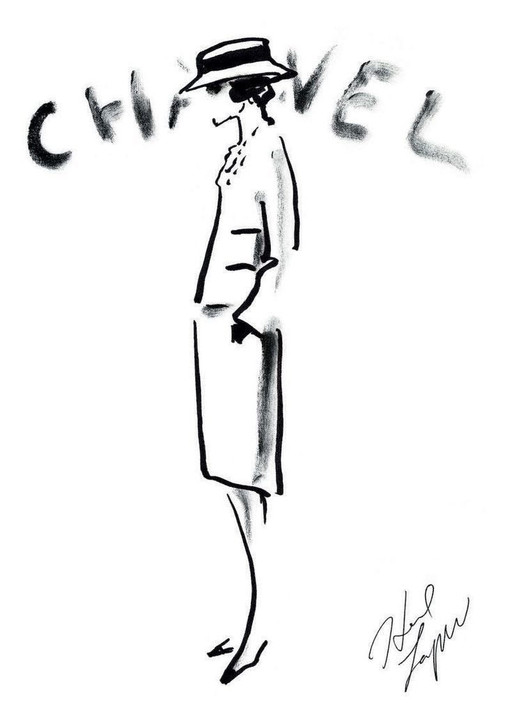 The Allure of Chanel. Original drawing by Karl Lagerfeld.