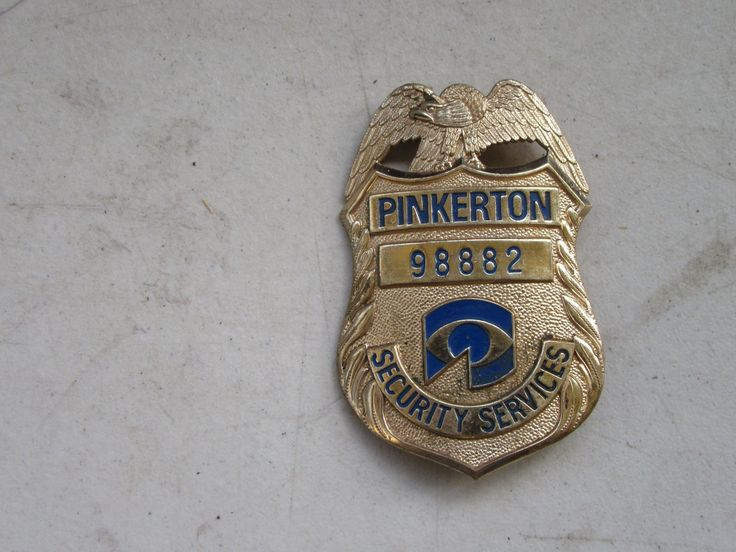 Pinkerton security services badge police shield pin back