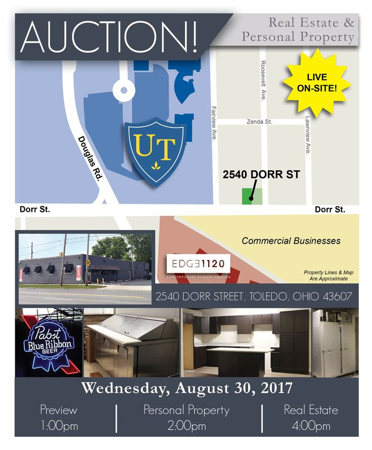 Content Auction at 2:00 pm. Display Kitchen, Neon Beer Signs, Mirror Beer Signs, Framed Beer Signs, Beer Banners, Beer Lighting, Commercial Freezers, Stainless Steel Tables, Prep Line, Wood Paneling, True Coolers, Motion Sensor Toilets, Leather Love Seats, Pizza Display Units, Pizza Paddles & Racks, 80″ Round Truss, Bar Stages, Area Rugs, Disco Ball, POS System With Cash Drawers, Stainless Steel Carts, Wood Benches, Brass 12-Tap Beer Tower, Nacho Warmers, Commercial Microwave, Fans, & More!