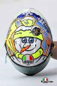 Valentino Rossi Snowman helmet (Sepang 2016). More: http://rossihelmets.com/valentino-rossi-snowman-helmet-sepang-2016/