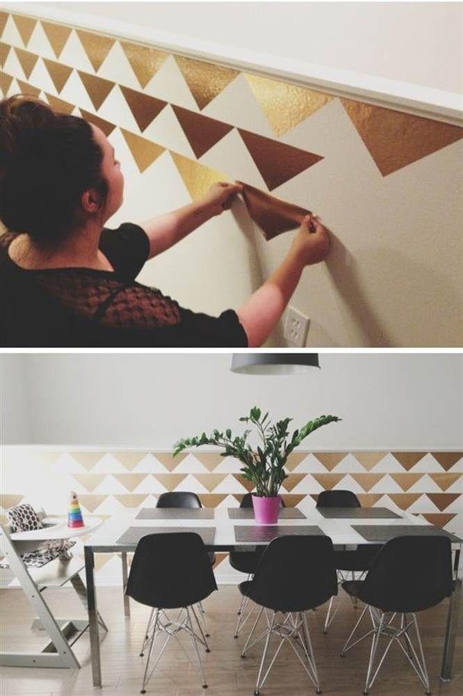 Con vinilo dorado #DDeco puedes crear acentos en tus paredes que no lograrías de otro modo