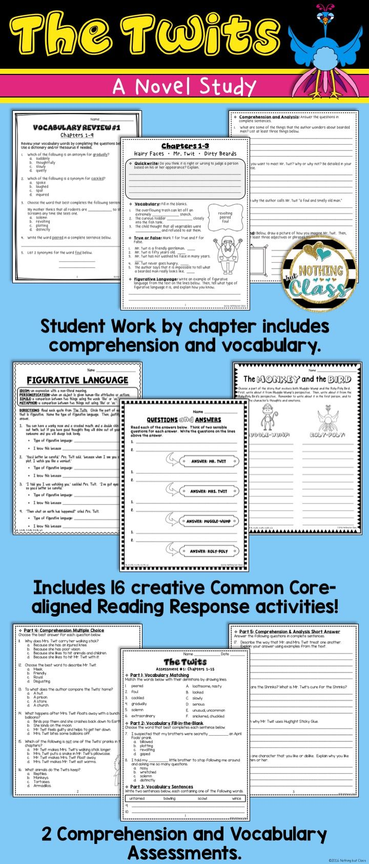 This novel study for The Twits, by Roald Dahl, contains 114 pages of resources, including comprehension, vocabulary, Common Core-aligned reading response activities, assessments, and more. Low prep and easy to use with a predictable layout and an included unit map!