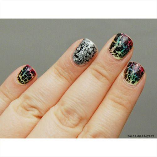 Nails for today #nails #nailart #rainbow #crackle #silver #splattereffect #rachelmasseyart