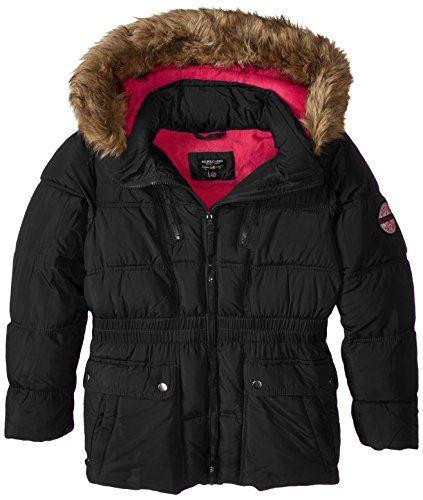 U.S. Polo Association Big Girls' Faux Fur Trimmed Hooded Bubble Parka, Black, 7/8 - $25.00