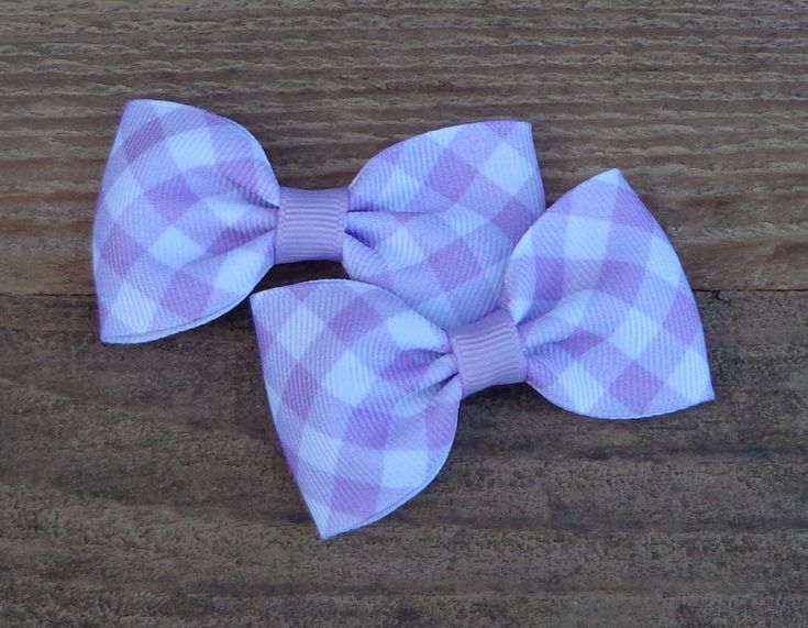 Pigtail Hair Bows~Easter Hair Bow~Light Purple Gingham Hair Bow~Small Hair Bow~Gingham Hair Bow~Bows For Pigtails~Pastel Hair Bows~Hairbows by LizzyBugsBowtique on Etsy
