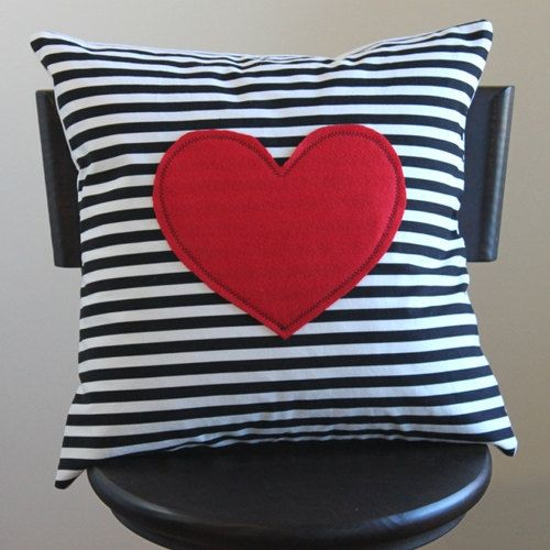 red heart pillow cover black and white striped by 645workshop